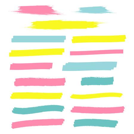 Yellow highlight marker lines. Highlighter strokes vector. Marker marks Ilustrace