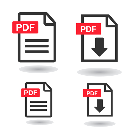 PDF File Icons. Document icon set. File Icons line style illustration  イラスト・ベクター素材