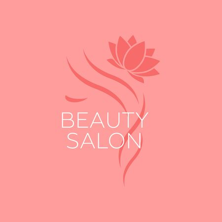 Beautiful woman vector template for hair salon. vector cosmetic procedures, spa center