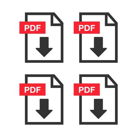 PDF Document icon set. File Icons. PDF file download icon  イラスト・ベクター素材