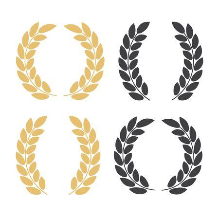Set of silhouette circular laurel. Laurel wreath with golden ribbon
