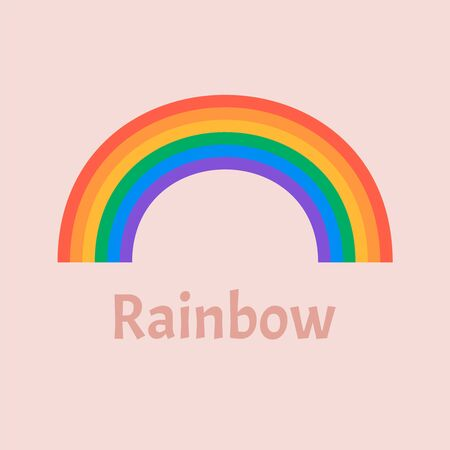 Colourful semicircle curves. Set of rainbows white background  Ilustração