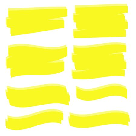Yellow Highlighter Marker Strokes. Yellow watercolor hand drawn highlight 向量圖像
