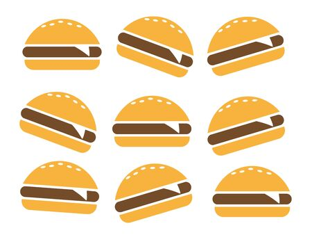 Fast food icon. Burger vector silhouette Banque d'images - 131156519