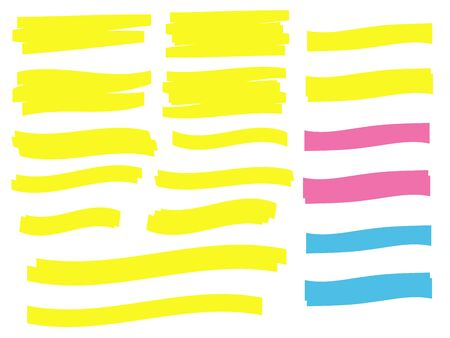 Yellow vector highlighter elements set. Yellow marker text selection