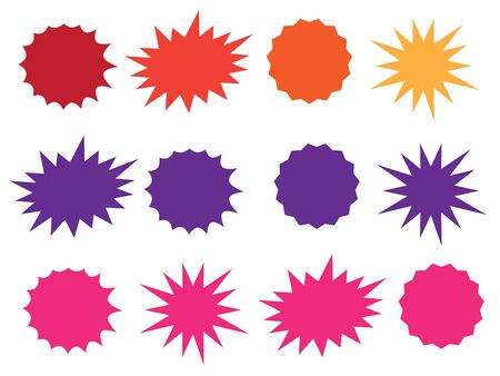 Vector Vintage Label. Starburst isolated icons set