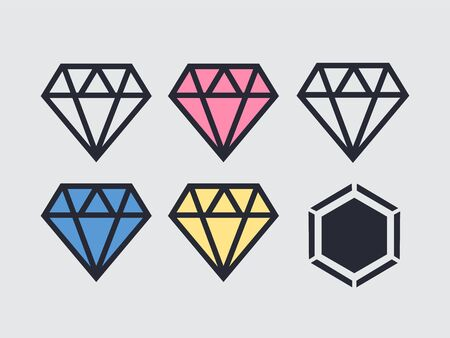 Diamond icon vector. Diamond outline vector sign