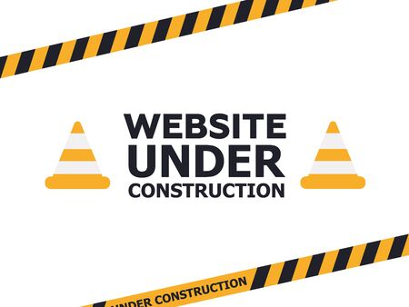 Under Construction Industrial Sign. Warning tape banner  イラスト・ベクター素材