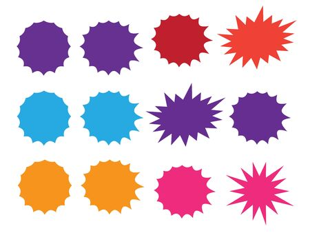 Colorful paper starburst speech bubbles. Starburst isolated icons set