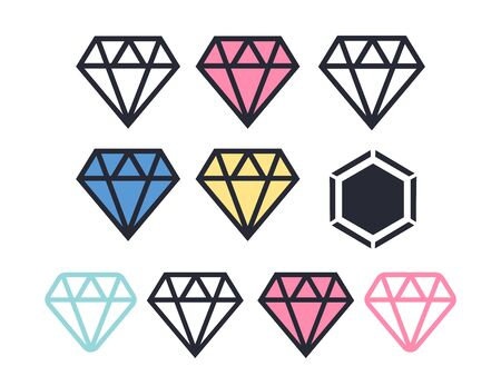 Diamond vector icons set. Diamond outline vector sign  イラスト・ベクター素材