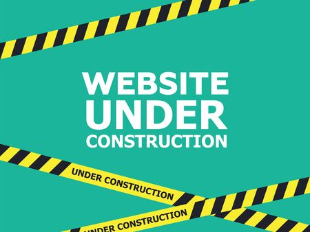 Website under construction page background. Warning tape banner  イラスト・ベクター素材