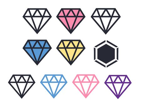 diamond line art geometry. Brilliant vector icon  イラスト・ベクター素材