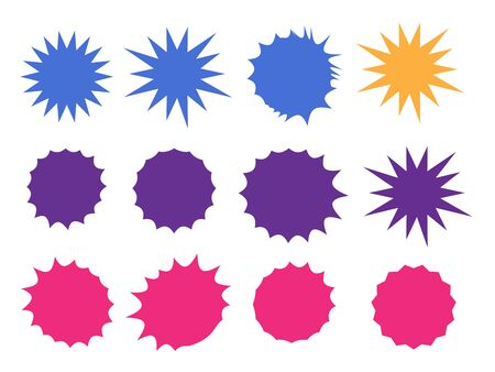 Vector Starburst set. Starburst explosion comic shapes. Speech boom bubble  イラスト・ベクター素材