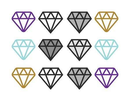 Diamond icons set. Diamond line icon. Diamond outline vector sign