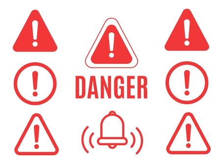Danger warning attention or exclamation sign. Danger sign design. Caution error icon