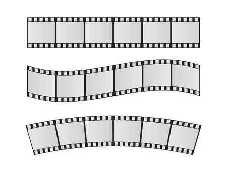 Slide film frame set. Film reel and roll 35mm vector