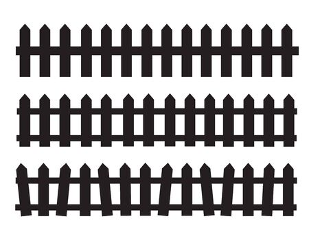 Silhouette Black Fence element. Fence gate graphic  イラスト・ベクター素材
