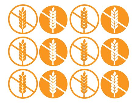 Wheat gluten free grain icon. 100% Gluten Free sticker for food