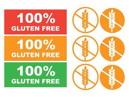 100% glutenfreier Aufkleber für Lebensmittel. Glutenfreier Etikettenvektor