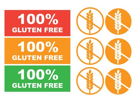 Adhesivo 100% libre de gluten para alimentos. Vector de etiqueta sin gluten