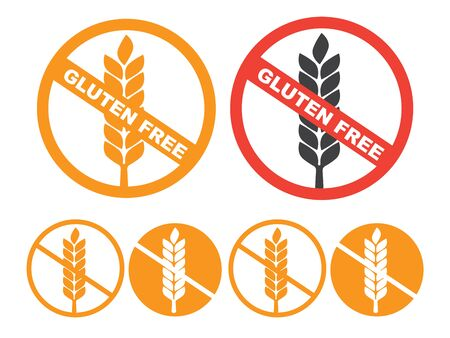 wheat gluten free grain vector icon. 100% Gluten Free sticker for food