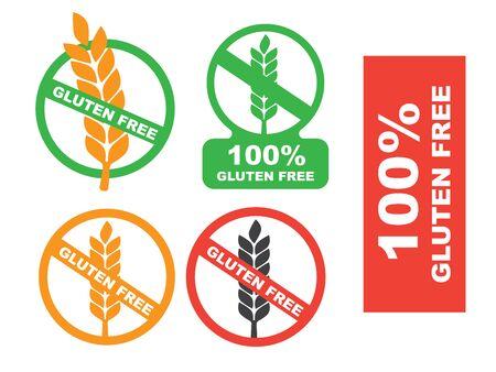 No gluten. White gluten free sign. Wheat gluten free grain icon Illustration