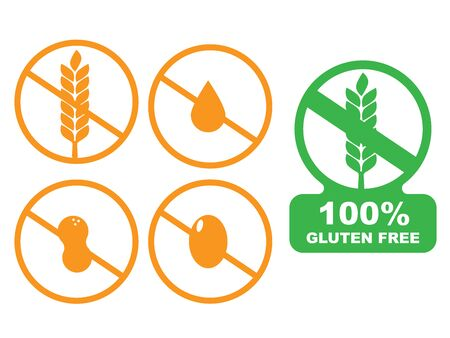 Icons of common food allergens. 100% Gluten Free sticker for food
