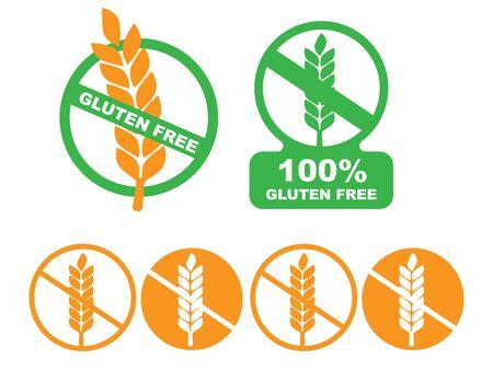 White gluten free sign. Gluten free label vector
