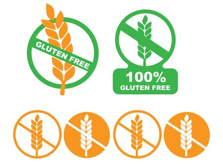 White gluten free sign. Gluten free label vector