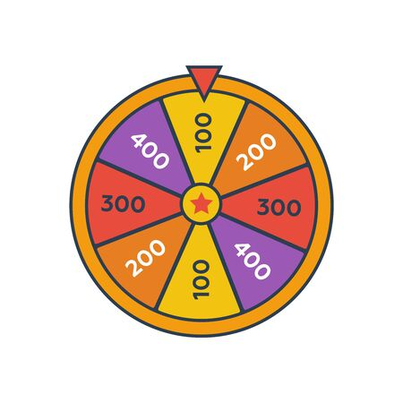 Wheel Of Fortune lottery prize. Win fortune roulette. Wheel spin lottery  イラスト・ベクター素材