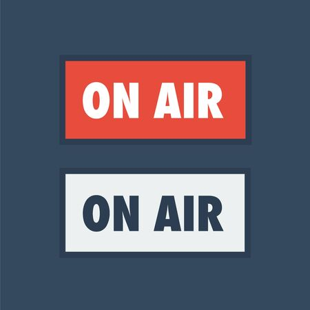 ON AIR studio light sign. Broadcasting live icon