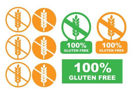 Vector gluten free symbols. White gluten free sign