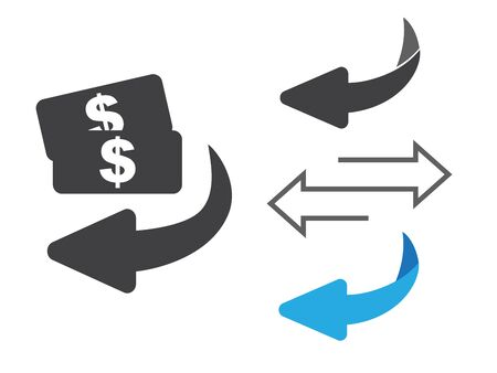 Cashback icon from Business. Flip over or turn arrow. Reverse sign  イラスト・ベクター素材