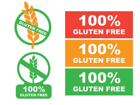 Gluten free label. Food  icon. White gluten free sign  イラスト・ベクター素材