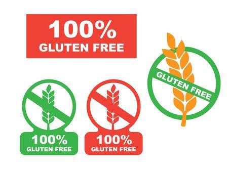 Gluten free label vector. Wheat gluten free grain icon