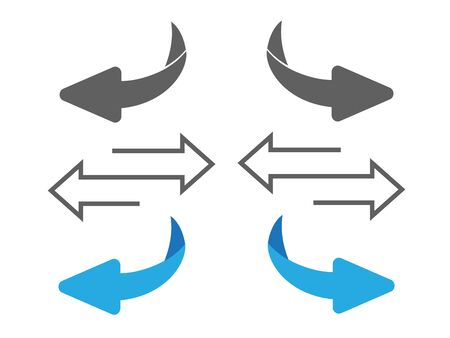 Exchange icon illustration. Flip over or turn arrow. Reverse sign