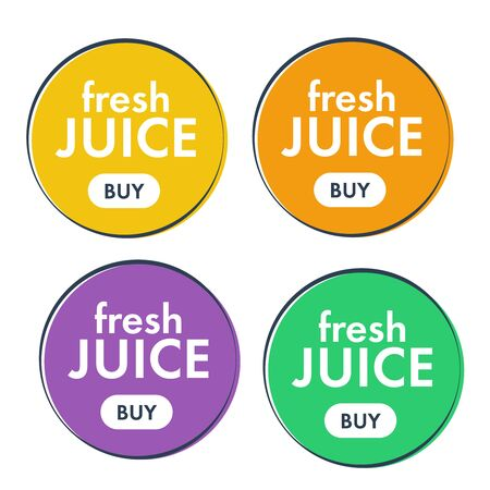 Juice fresh fruit icon. Orange, lemon juice sticker. Orange icon