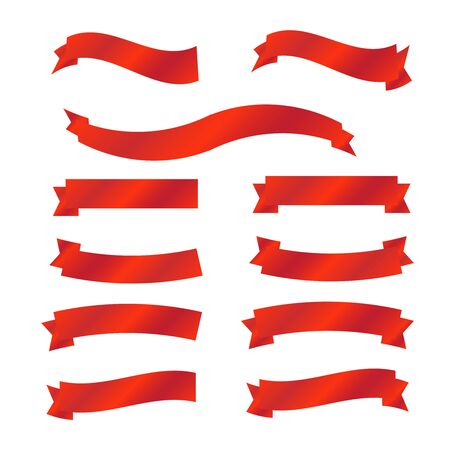 Red glossy ribbon banners. Red ribbons banner vector 向量圖像