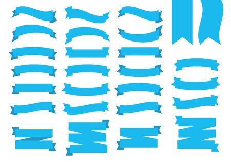 Blue Ribbons Banners. Flat blue ribbons set vector 向量圖像
