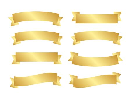 Golden ribbon set. Gold ribbons banner vector  イラスト・ベクター素材