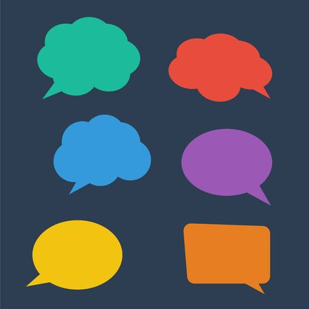 White blank retro speech bubbles. Stickers of speech bubbles vector