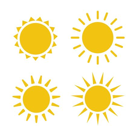 Sun icon illustration. Sunshine isolated set. Sun logo vector