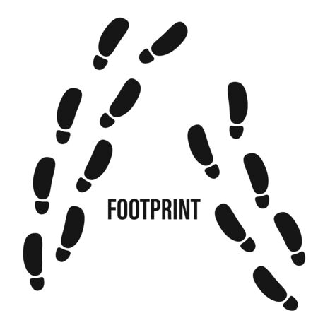 Footprint trekking print vector. Foot steps track human