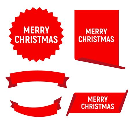 Red Christmas banners. Ribbons sticker and paper scrolls banner Stok Fotoğraf - 131458161