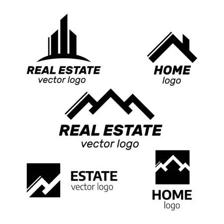 Real estate house linear logos, emblems set. Real Estate, Building and Construction Logo Vector Design