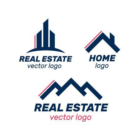 Immobilien-, Bau- und Bau-Logo-Vektor-Design. Logo-Immobilien-Set