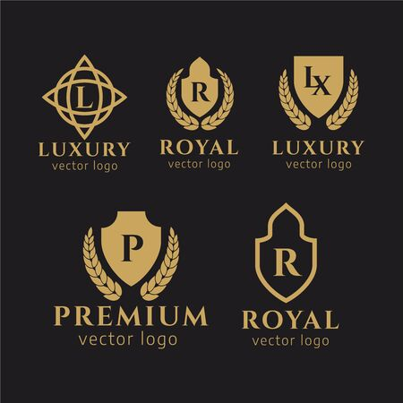 Royal Brand Luxury Crest Logo. Flourishes Calligraphic Monogram. VIP, Fashion and Premium brand identity