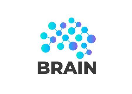 Logo astratto del cervello umano. Marchio di vettore di affari. Icone del cervello, creatività e apprendimento Logo