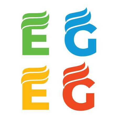 letters logo green E and G. ECO logo font. Leaf E and G logotype