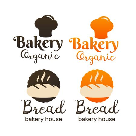 Bakery and bread shop logos, labels and badges Çizim